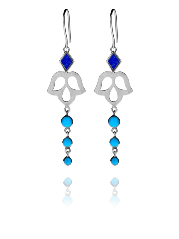 Alina Blossom lapis and turquoise earrings