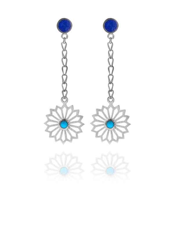 Alina Flower lapis and turquoise earrings