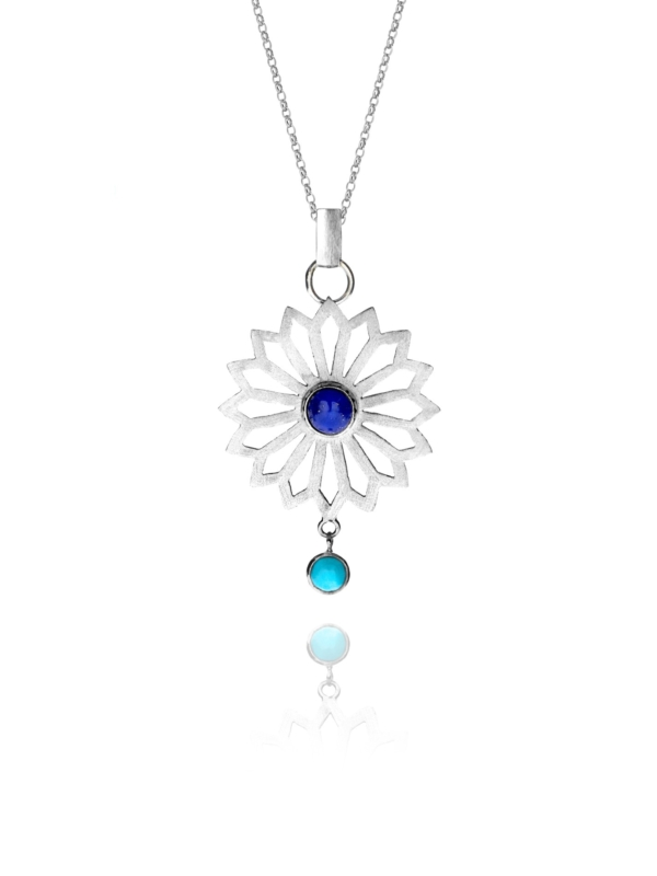 Alina Flower lapis and turquoise pendant
