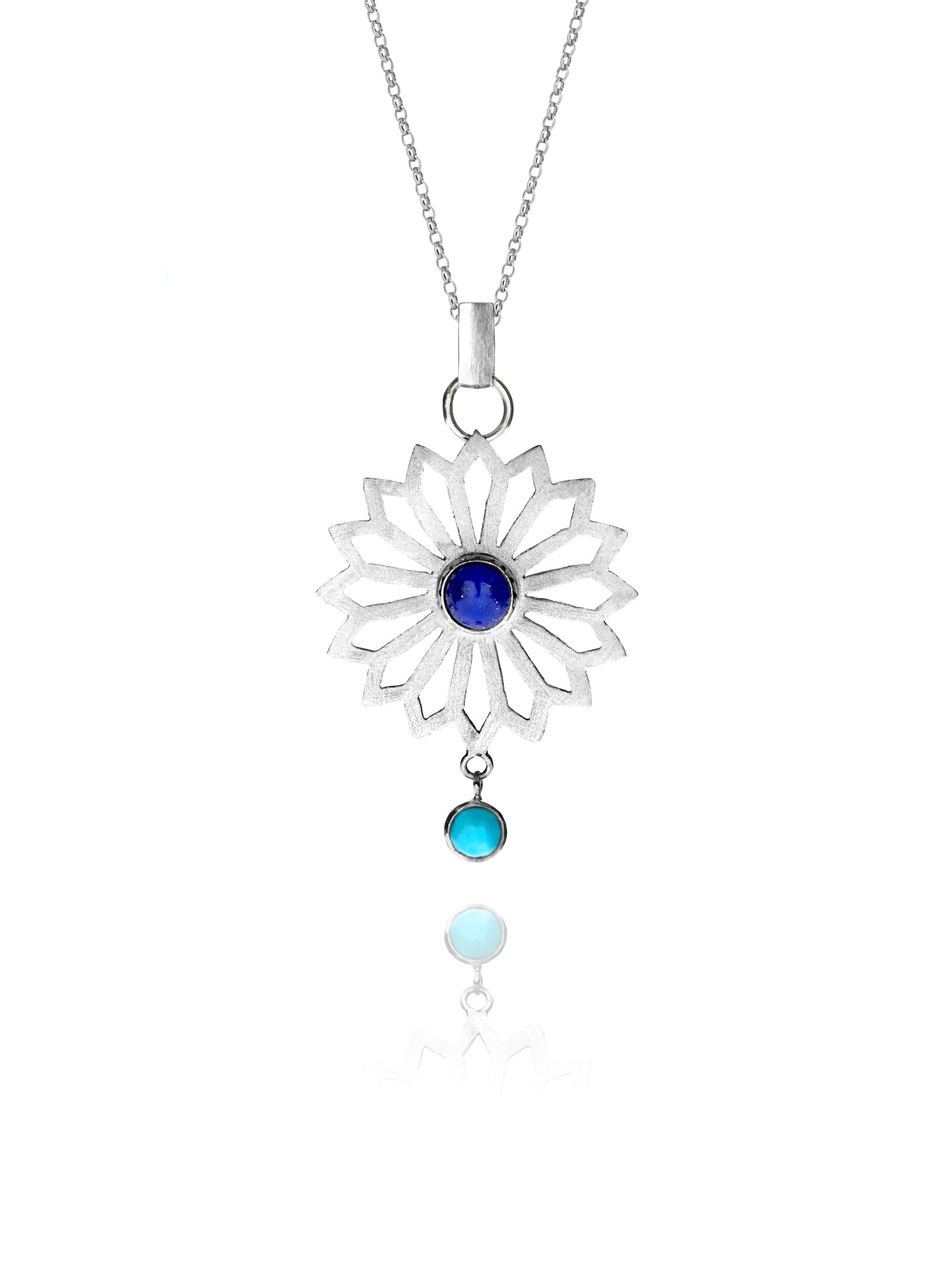 Alina Flower necklace silver lapis 88204 1