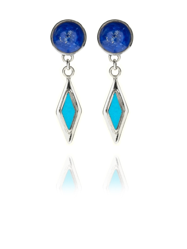Alina Star lapis and turquoise drop earrings