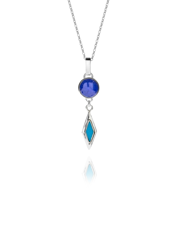 Alina Star lapis and turquoise drop pendant