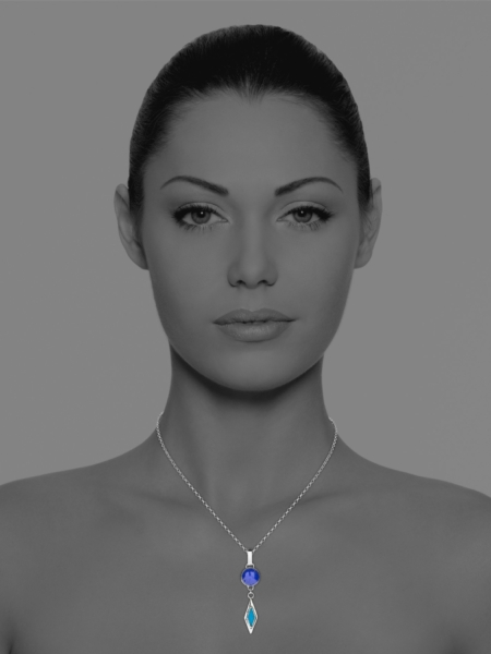 Alina Star lapis and turquoise drop pendant