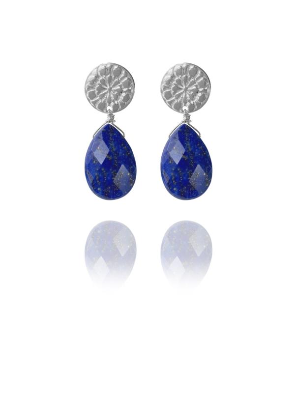 Assyrian Flower silver faceted lapis earrings