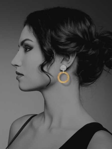 Assyrian Flower vermeil earrings