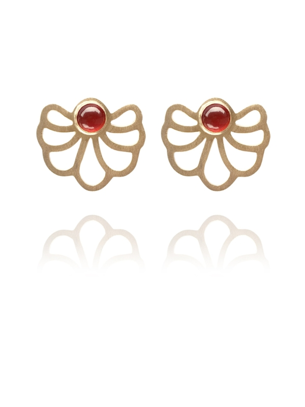 Assyrian Flower carnelian vermeil earrings
