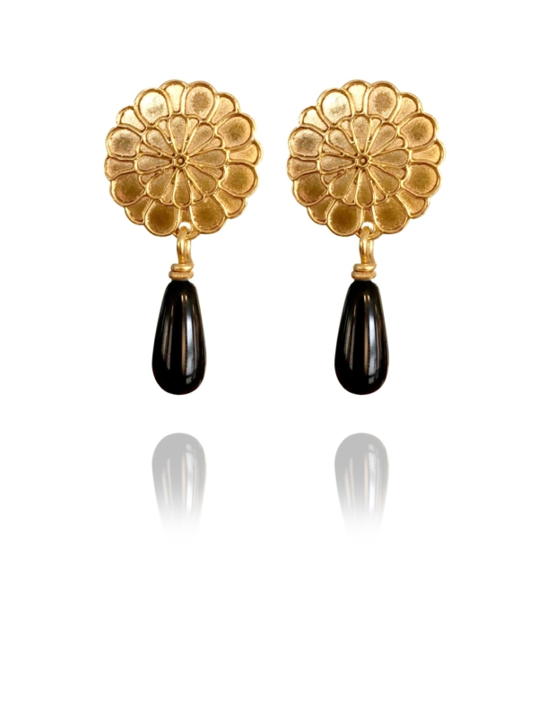 Assyrian Flower earrings silver vermeil onyx