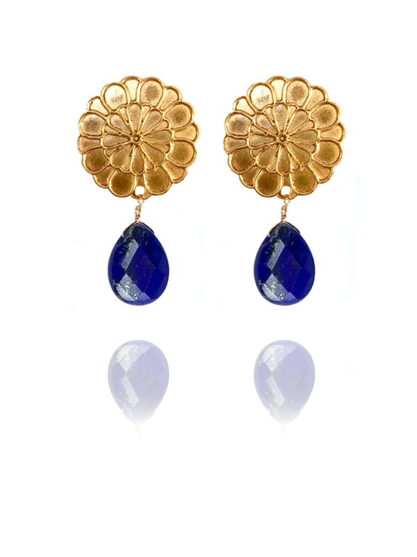 Assyrian Flower lapis vermeil earrings L