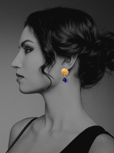 Assyrian Flower lapis vermeil earrings
