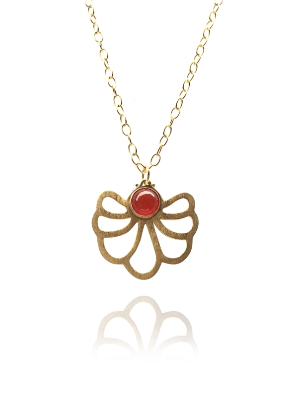 Assyrian Flower carnelian pendant