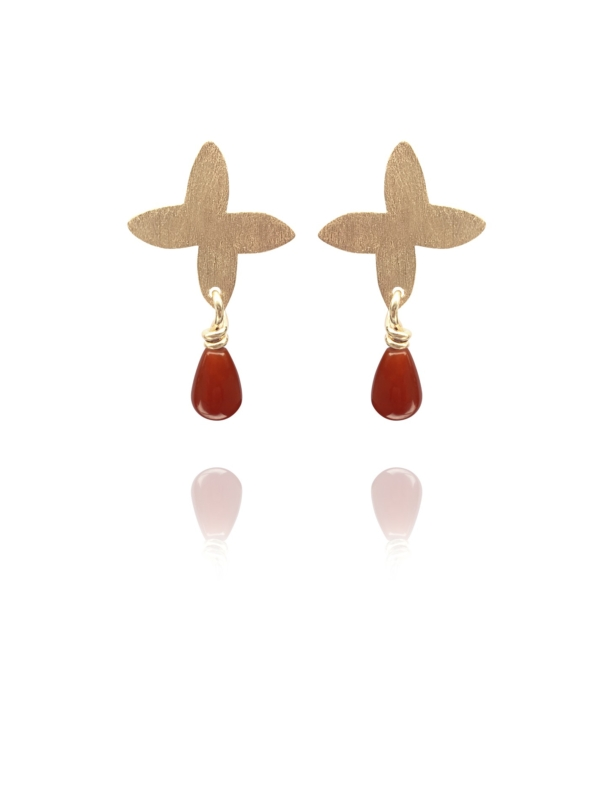 Assyrian Petal carnelian vermeil earrings