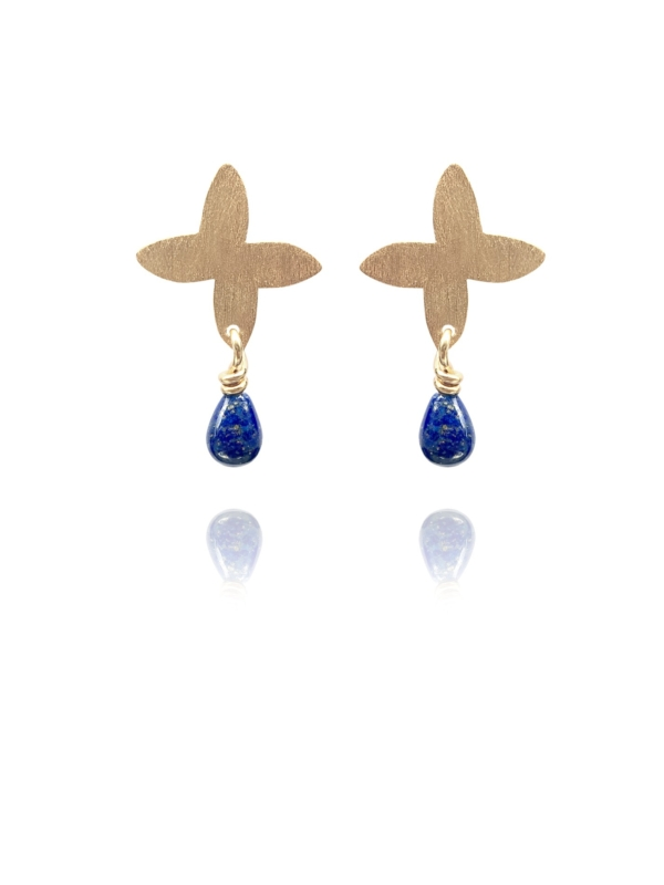 Assyrian Petal lapis vermeil earrings