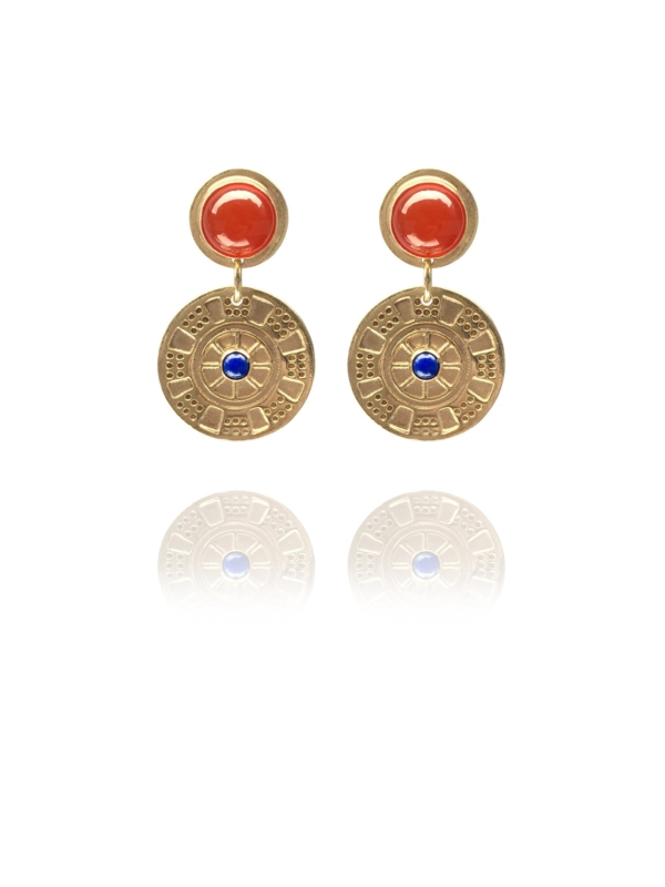 Assyrian Chariot lapis carnelian vermeil earrings
