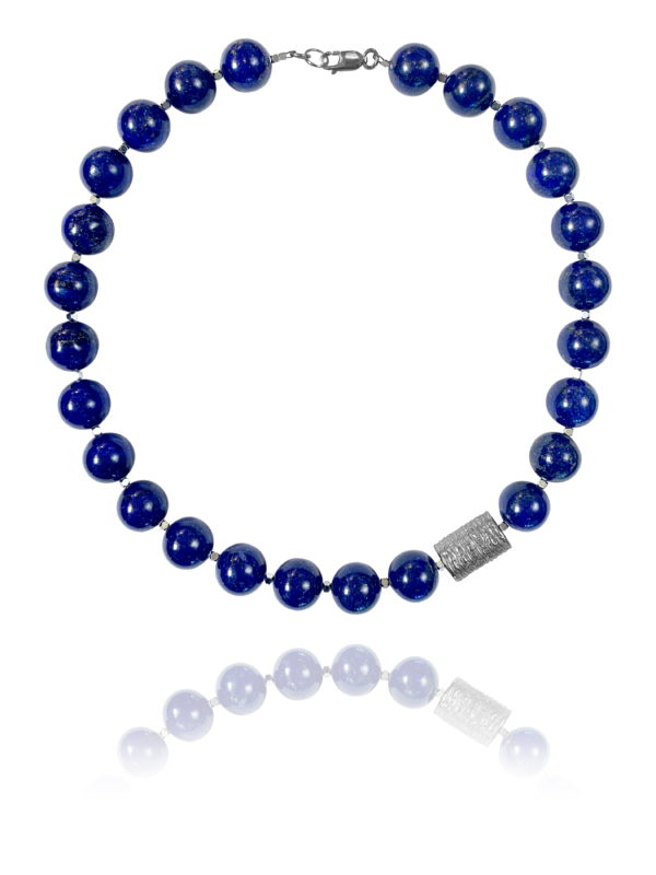 Bead necklace silver round lapis