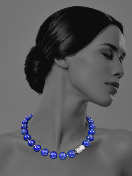 Unique Silver lapis necklace