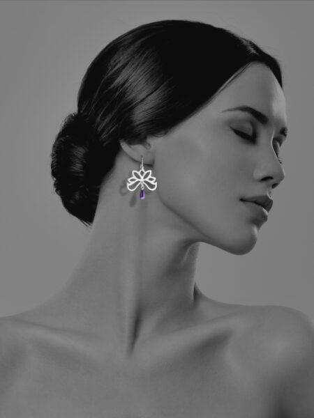 Half Bloom lapis earrings