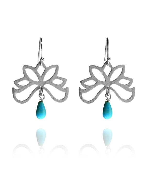 Bloom half earrings silver turquoise T