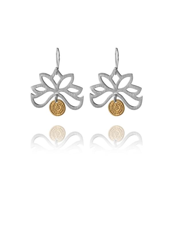 Bloom half earrings silver vermeil coin GC