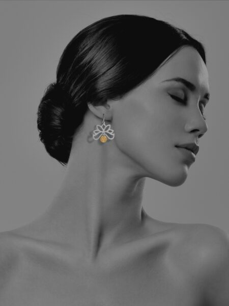 Half Bloom vermeil coin earrings