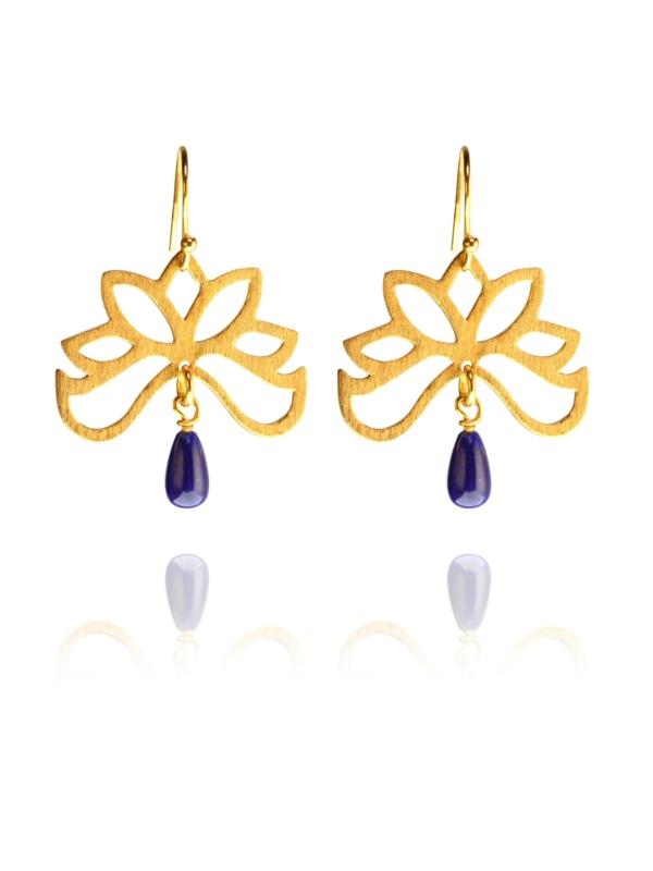 Half Bloom lapis vermeil earrings