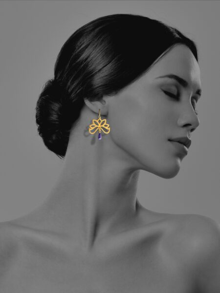 Half Bloom lapis vermeil earrings