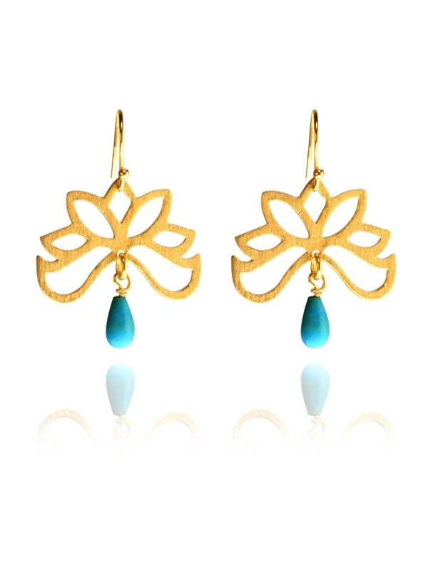 Bloom half earrings silver vermeil turquoise GT