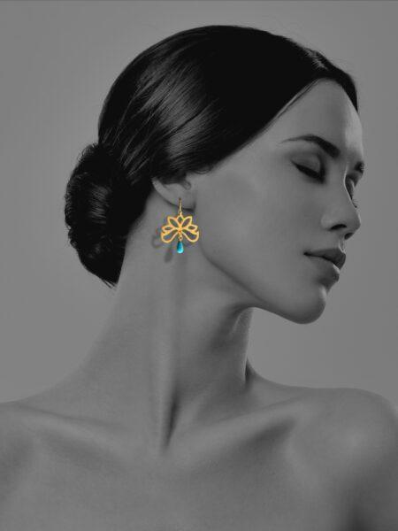 Half Bloom turquoise vermeil earrings
