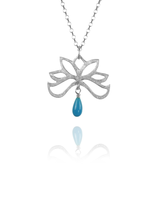 Bloom half necklace silver turquoise 82703T 1