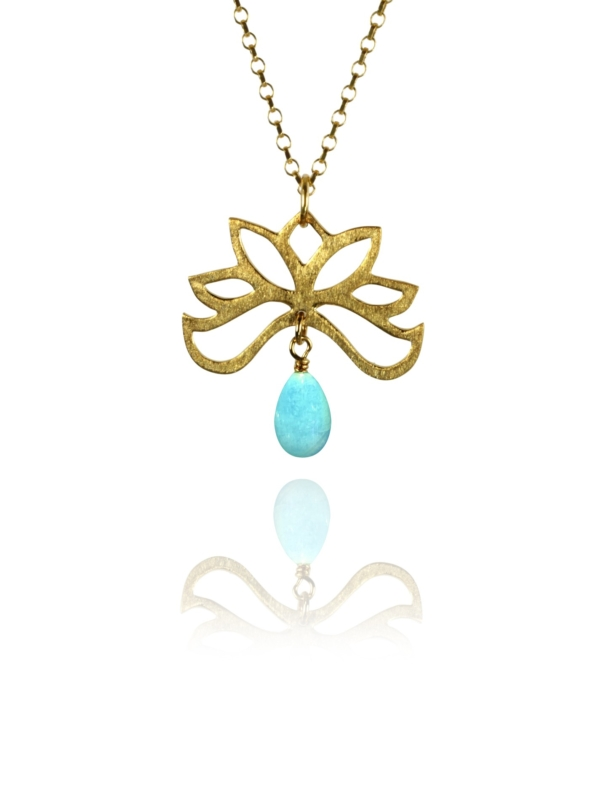 Bloom half necklace silver vermeil amazonite GA