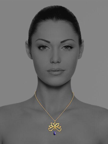 Half Bloom lapis vermeil necklace
