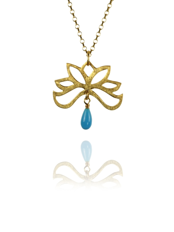 Bloom half necklace silver vermeil turquoise 82703GT 1