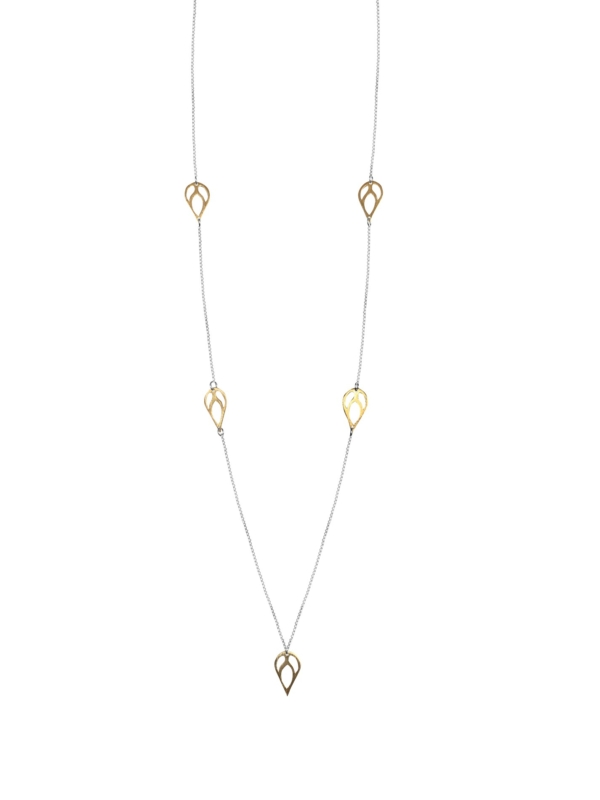 Bloom long necklace silver vermeil G