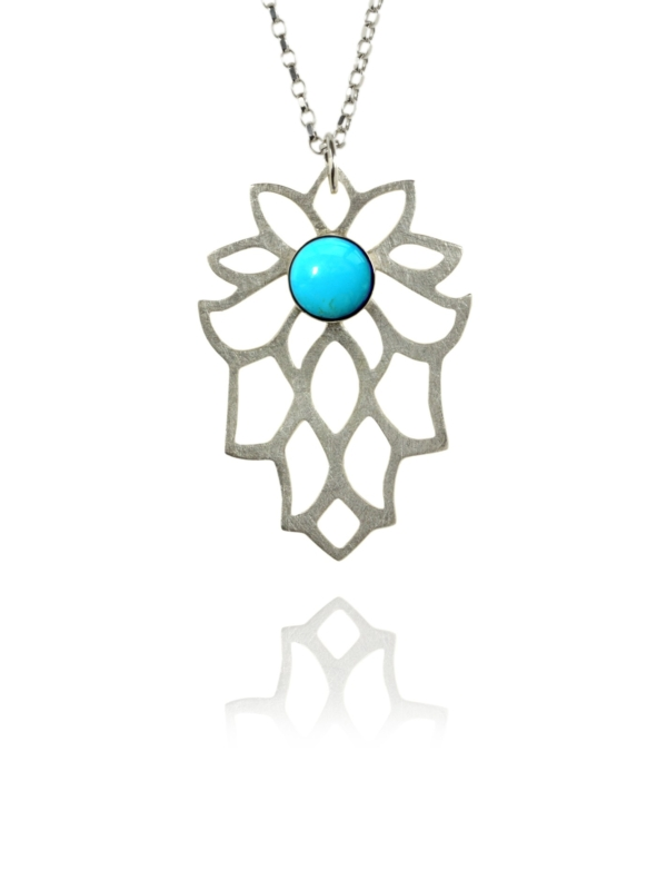 Bloom necklace silver turquoise 82401T 1