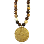 Coin long necklace faceted agate silver vermeil