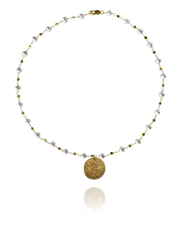 Coin necklace vermeil silver pearl pyrite