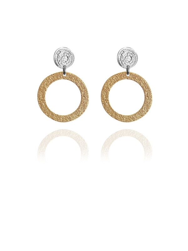 Coins Disc silver vermeil small earrings