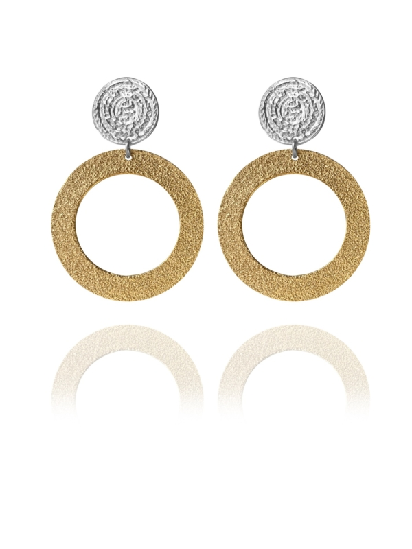 Coins Disc silver vermeil large earrings