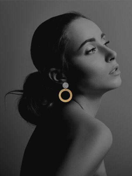 Coins Disc silver vermeil large earrings
