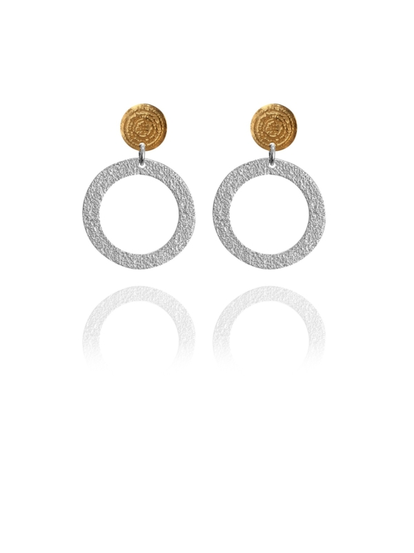 Coins Disc vermeil silver small earrings