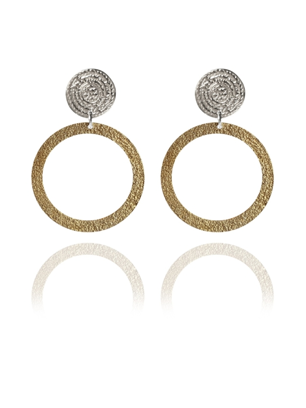 Coins Disc silver vermeil narrow earrings