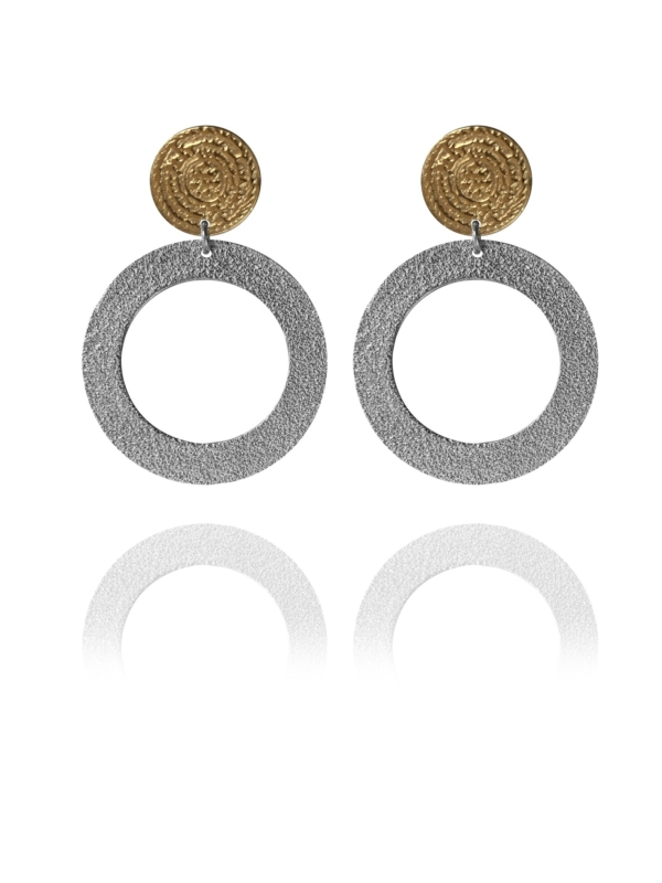 Coins Disc vermeil silver large earrings