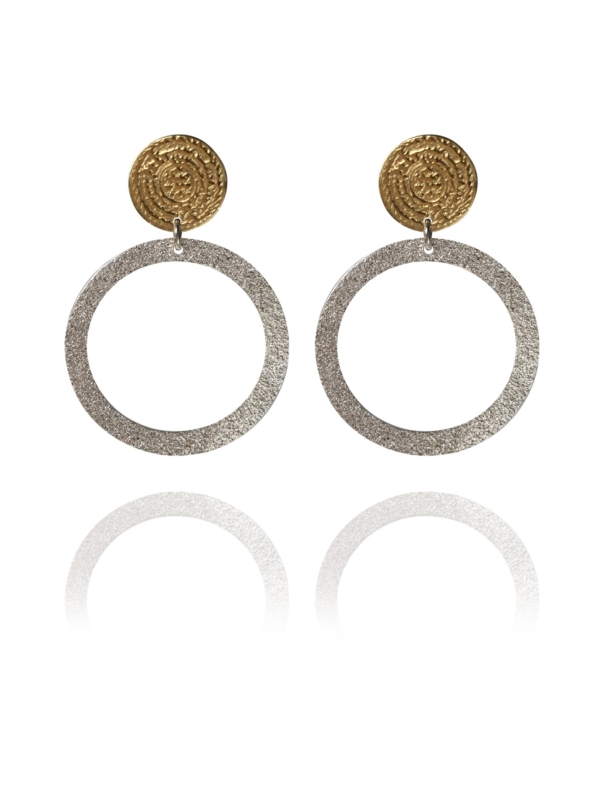Coins Disc vermeil silver narrow earrings