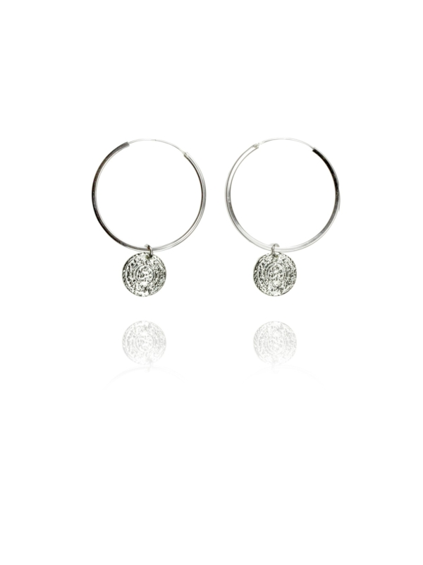 Coins Hoop silver large earrings