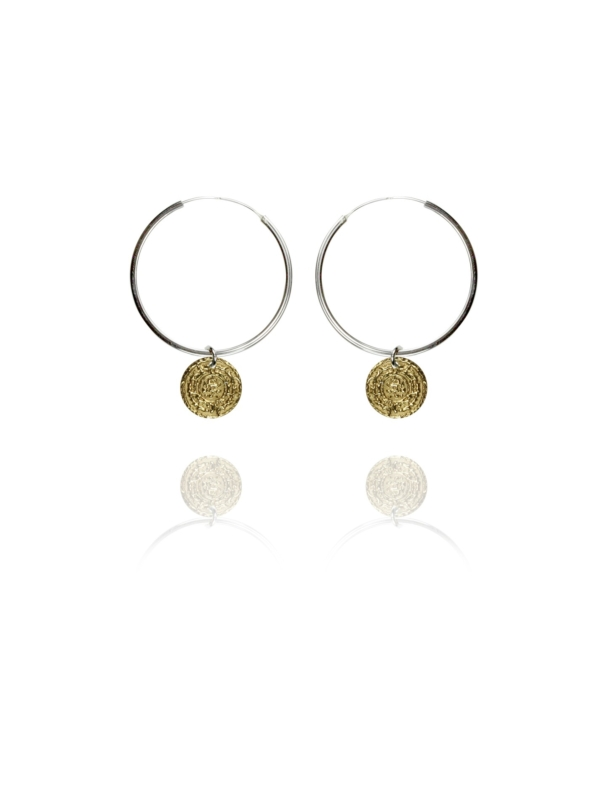 Coins Hoop vermeil silver large earrings