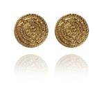 Coins Stud earrings silver vermeil G