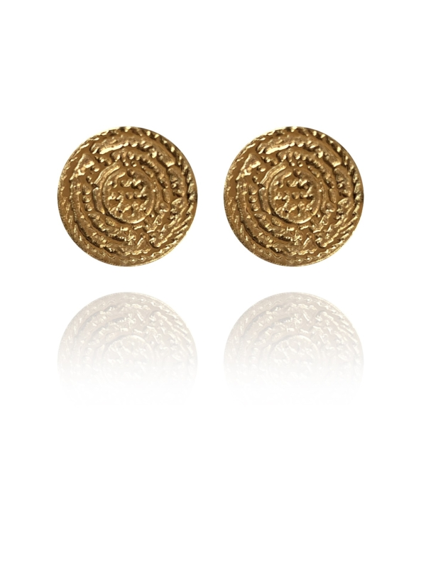 Coins Stud vermeil earrings