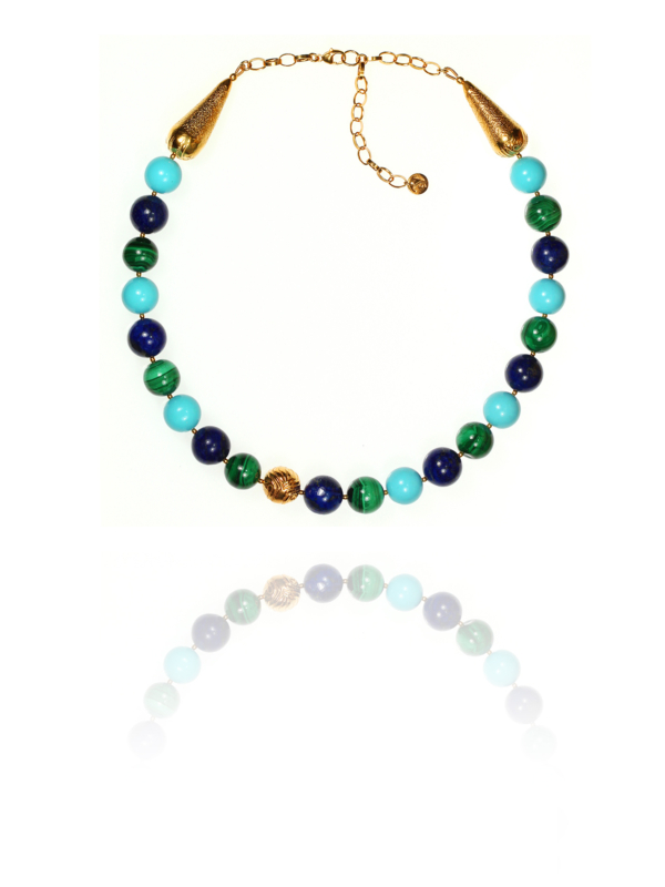 Egypt Earth necklace silver vermeil turquoise lapis malachite