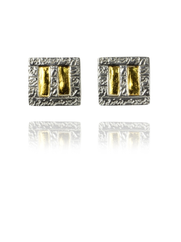 Hill cufflinks silver gold 22429 1