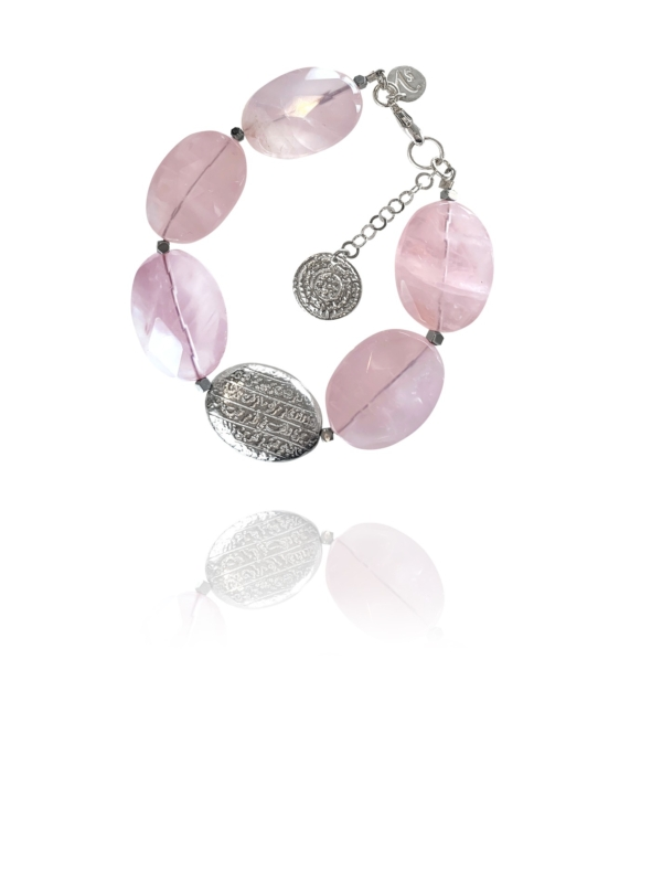 Hope Bracelet silver faceted rose quartz hematite 62422 1