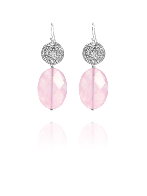 Hope Large earrings silver rose quartz